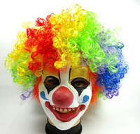 Free Shipping Funny halloween party clown mask wigs Cosplay adult men mask Costumes Set hair + Mask