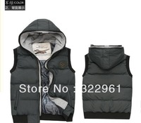2013 free shipping men's Winter Winter hooded vest