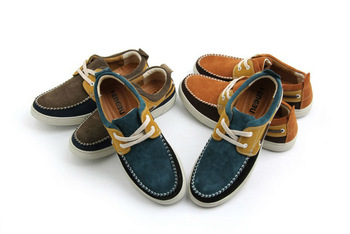Nostalgia retro hit color shoes multicolor suede casual shoes do old men wear breathable shoes