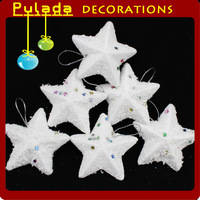 Pulada Decorations (min,order $10)  Christmas supplies decoration pendant christmas tree white small five-pointed star