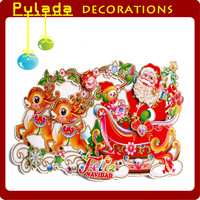 Pulada Decorations (min,order $10) Large Deer car Christmas marouflage single Christmas decoration,37cm*68cm,free shipping