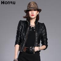 Honru2012 winter new arrival zipper leather wadded jacket female short design slim outerwear plus size cotton-padded jacket