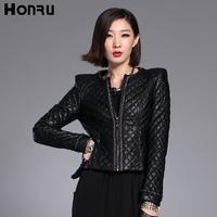 Honru2012 winter fashion PU short design slim plaid zipper outerwear small wadded jacket female