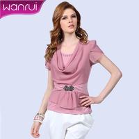 Women's 2013 summer fashion chiffon shirt fashion slim female short-sleeve top 2113