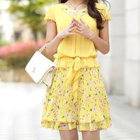 (BR-275)2013 summer female sweet chiffon one-piece dress peter pan collar pleated plus size chiffon one-piece dress