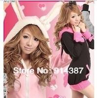 Ms fashion cute bunny ears bowknot ragged coat free shipping