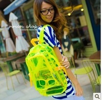 2013 trend neon color printing backpack female candy color transparent school bag printing backpack
