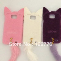 promotion New arrival 3D Elegant fashion Cute Fox Plush Cat Cover Protector Cases for Samsung galaxy 2  S2 i9100  free shipping