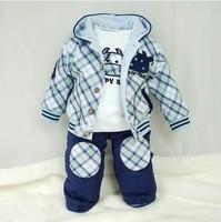 Retail 1 Set Baby Boys Suit Cartoon Children Spring Set Baby Clothes Fashion Coat+T shirt +Pants 3 Pcs CCC092