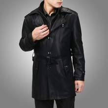 Free shipping!Men's new suit sheep leather jacket man leather leather coat / Color:Black