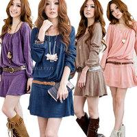 Fashion Ladies Womens Long Sleeve Loose Tops Tunic Mini Dress Free Shipping