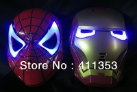 Drop shipping  LED Glowing Light Iron Man Spider Man Masks Hero Face Guard PVC Masquerade Party Halloween Birthday  add gift