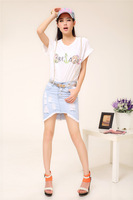 Low-high hole buttons slim chain suspenders denim skirt bust skirt