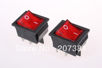 5 Pcs x Red Neon Light Lamp On Off DPST Rocker Switch 4 Pin 16A/250V 20A/125V AC
