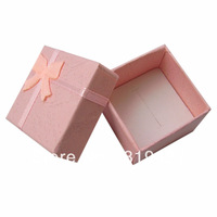 Free shipping Pink Color Gift Paper Stripe Jewelry Boxes, Ring cases, Earring Box Size 4*4cm 24pcs/lot China display Suppliers