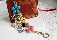 2013 Top Fashion Multi elements Pearl Crystal and Stone Bracelet Free shipping