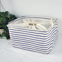 Free shipping fluid storage basket laundry bucket storage box fabric tote folding blue bar  Min order$10