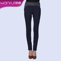 Women's 2013 spring fashion plaid colorant match elastic slim long trousers female