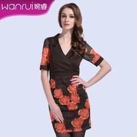 Women's 2013 summer fashion elegant slim print one-piece dress female short-sleeve plus size