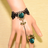 Fashion vintage royal black lace bow bracelet with ring adjustable rings set women wholesale jewelry handmade SL114