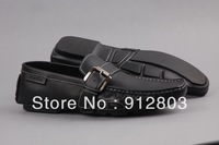[ANYTIME] Fashion BRAND Men's Cowhide GENUINE LEATHER Casual Flats Shoes, Man Business Brief Loafers