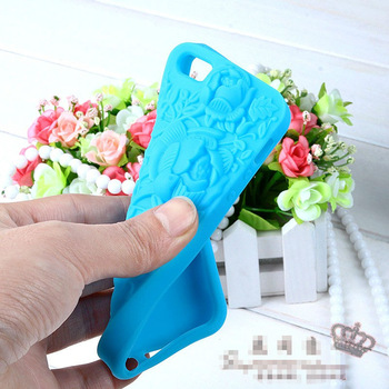 Free Shipping Rose Shape Silicon Cover Case Cell Phone Case With Retail Packing Box For Apple Iphone5 5g