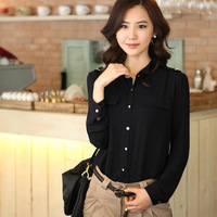 new 2013 fashion autumn and winter women outfit OL slim silk long-sleeve shirt formal fashion shirts free/drop shipping