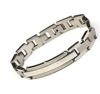 Titanium steel silver fashion personality square splicing bracelet wholesale men's jewelry