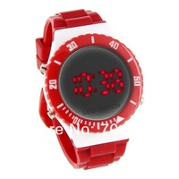 men watch classic water resist belts for men Silicone Band Red Light LED Watch