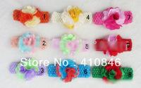 Fashion Children's Flower Hairband Baby Girl's lace flower headdress Rose Hair ribbon 50 pcs lot MX3004