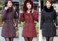 Free Shipping 2013 New Arrival Winter With Big Rabbit Fur Collar Plus Size Medium Long Down Jacket Outwear Women XL-SXL 873