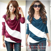 Fashion Ladies Batwing Women's Tops Splice Brief Style Ladies' T-shirt Blouse, M/L/XL/XXL/XXXL, 4 Colors Available