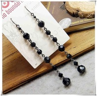 20pairs/lot Elegant Simple and Easy Long Dangle Black Beads Drop Earring earings fashion 2013 free shipping Wholesales RS019