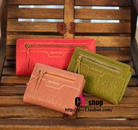 Embossed leather tassel women's long short design wallet