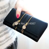 Fashion wallet double zipper chain women's long design wallet