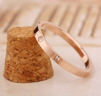 fashion Stainless steel imitation diamond rose golden exquisite woman Ring free shipping G51CE4B0D9ECDA