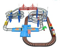 Lixin 25688 2014 Hot Sell 3D Four-layer Spiral Track Roller Coaster Toy Electric Rail train+Car for Child Gift 1set/lot