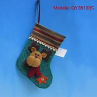 "9"" Christmas Stocking Fabric Decoration for Christmas Bedside Santa Ornaments Christmas Tree Ornaments Free shipping"