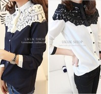 Free shipping! 2013 Autumn Women's Top  Elegant poncho patchwork lace chiffon shirt  Lace shirt