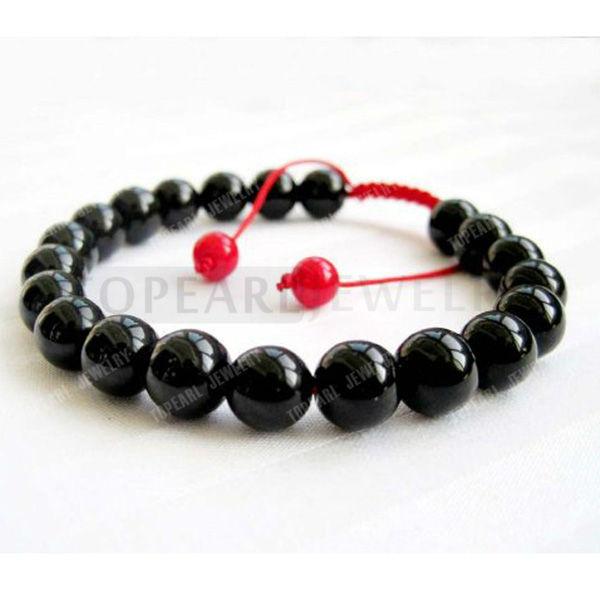 Hydia 3pcs Jóias 8 milímetros Preto Ágata Beads budista tibetano Mala Bracelet para Meditação Rosário SBR113(China (Mainland))