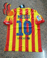 A+++ Top 2014 New Spain Barca Messi Away Yellow Player Version Big Patch V3 Thailand Soccer Jersey Football Kits Custom Name