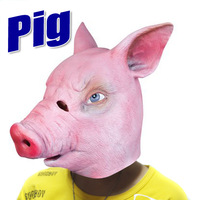 2013 hot selling manufacturer cute pink newest full head animal head lovely pig latex mask