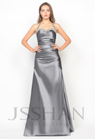 11P007 Halter A-Line Beaded Ruched Taffeta Gorgeous Luxury Unique Brilliant Prom Evening Dress Girls Party Dress