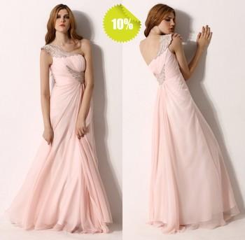 Best Sale One Shoulder A-Line Sleeveless Floor Length Chiffon Beaded Tony Bowls Evening Dresses 2013