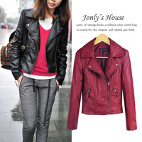 Cool 2013 women's quality fashion oblique zipper slim short design motorcycle leather clothing jacket outerwear