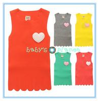 2015 new freeshipping Retail colorful girl t shirt baby girl vest children clothing summer shirts sleeveless tankstop heart