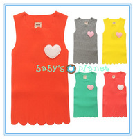 2014 new freeshipping Retail colorful girl t shirt baby girl vest children clothing summer shirts sleeveless tankstop heart