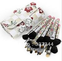 Top Quality 26pcs Sable Hair Brushes Kits Flower Stamp Handle Pro Makeup Brush Set Make Up Tools with Flower PU Bag, FreeShip