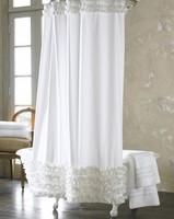 Fashion new 2013 - plain shower curtain - handmade white ruffled terylene thickening waterproof lead wire