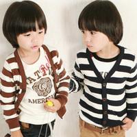 Children jacket 2014 autumn brief stripe boys clothing baby child long-sleeve cardigan coat